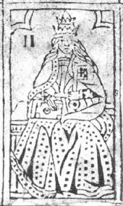 """Tarot-Karte: """"La Papessa""""  aus dem 15. oder 16. Jahrhundert"""